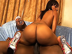 Her tight black snatch squeezes his cock and makes him cum