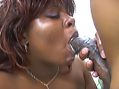 The smooth black ass on this ebony fatty gets a workout