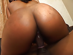 Sexy ebony fuck princess grinds her pussy on a big black cock until it erupts in streams of cum on her big ass