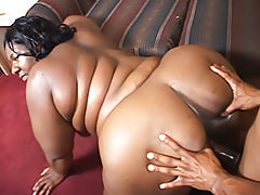 Big black ass bounces when he fucks her hard from behind