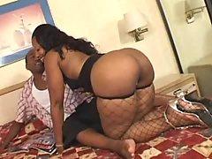 Ebony honey fucking hard with dude in free video