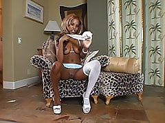 Ebony cutie can't wait to take her panties off so she can show you her sexy, barely touched shaved black pussy