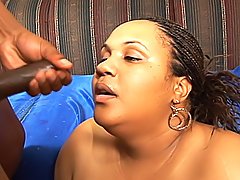 Hungry ebony BBW begs for him to shoot his load for her