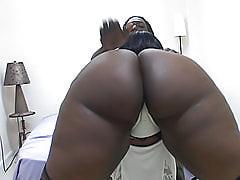 Black BBW booty bounces on his cock until he jizzes on it