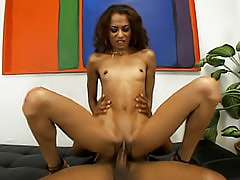Horny black girl rides a swollen black cock that can barely fit inside of her barely legal ebony fuck box
