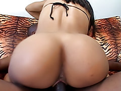 Horny black chick milks his black prick deep inside of her so she can feel his warm jizz in her fuck palace