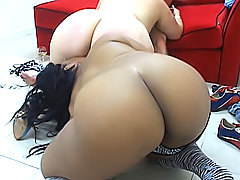 Two stacked black BBWs drink up one lucky guy's hot sperm