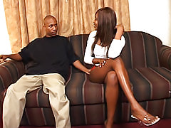Black seductress makes him hard with her long dark legs and her juicy pussy that drips all down his hard shaft