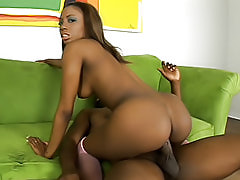 Mahlia's black ass looks good oiled up, and looks better when she's fucking and getting it drenched in hot cum